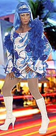 XL 70S Chick Costume Blue FANCY DRESS (Chick Fancy Hippy Dress)