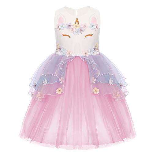 (OBEEII Einhorn Kostüm Sommer Kleider Mädchen Festlich Cosplay Party Prinzessin Tutu Rock für Festival Karneval Geburtstag Performance Halloween Fotoshooting Rosa 18 Monate)