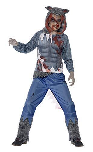 Smiffys Kinder Jungen Wolf Krieger Deluxe Kostüm, Oberteil mit Kapuze und Sublimationsaufdruck und Hose, Größe: L, 44296 (Beste Halloween-kostüm 1-jahr-alten Jungen)