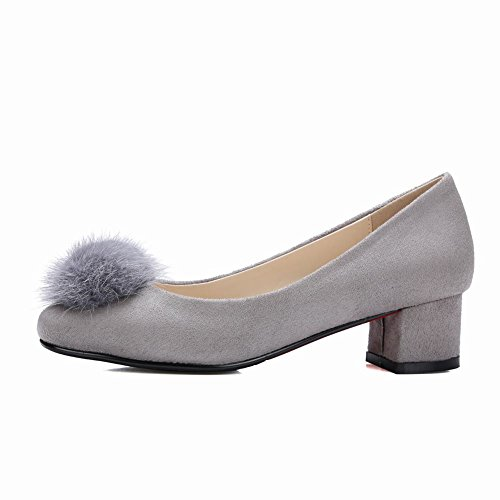 ... Mee Shoes Damen Pompon vierkant Nubukleder chunky heels Pumps Grau ...