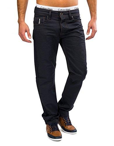 Herren Stoff-Hose · (Regular Fit) Dunkle elegante Freizeit Jeans Hose aus gewachster Baumwolle, Coated Denim mit geradem Bein (Straight Leg) · H1614 von Jaylvis Blau-2