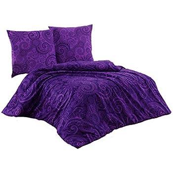 Mikrofaser Bettwäsche Wende 135x200 cm 2 tlg 4-tlg Kreise lila violett