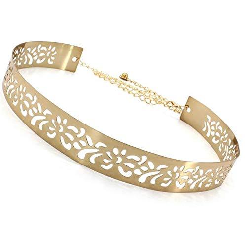 Satyam Kraft 1 Pcs Celebrity Inspired Adjustable metal plate type golden belt for Diwali Gift Special Golden Diva Golden Skinny Metal Belt For Women/Girls Belt ladies belt (Hollow Design)
