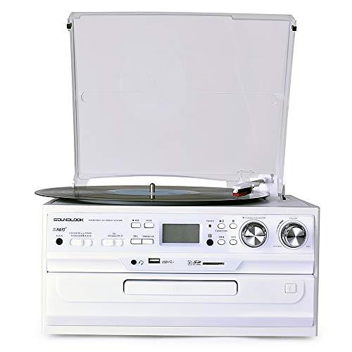 HXWS Bluetooth Record Player mit Stereo-Lautsprechern, Plattenspieler für Vinyl zu MP3 mit Kassetten Play, AM/FM Radio, Fernbedienung, USB/SD-Encoding, 3,5-mm-Musik-Ausgangsbuchse,Weiß