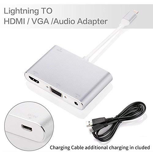 Lightning auf HDMI/VGA/Audio Adapter Konverter Kabel, PHADEN 3 in 1 Lightning 8 Pin zu Digital AV Multiport HDMI VGA & Audio Adapter mit Micro USB Ladekabel + 3,5 mm Audio Port für iPhone/iPad - 2