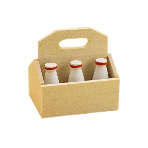 Dimart 1 Satz K¨¹che-Werkzeug-Milchflasche mit Korb - 1:12 Puppenstuben Miniatur-Zubeh?r - Beige -