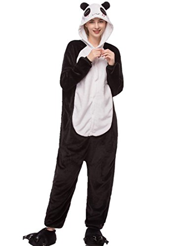 (URVIP Unisex Festliche Anzug Flanell Pyjamas Trickfilm Jumpsuit Tier Cartoon Fasching Halloween Kostüm Sleepsuit Party Cosplay Pyjama Schlafanzug Panda Small)