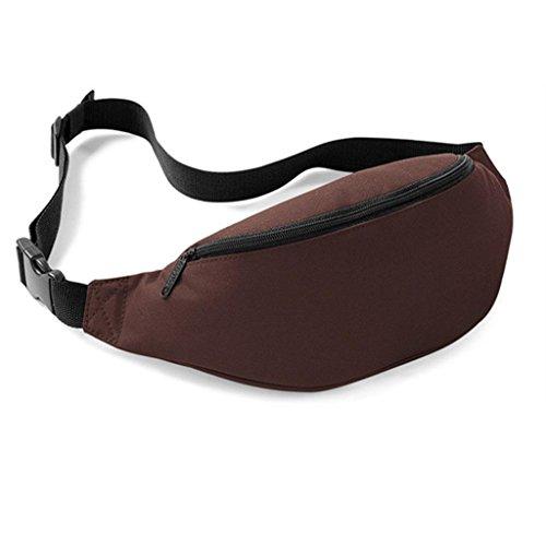 UIlarma Unisex Gürteltasche Sport Outdoor Hüfttasche Oxford Tasche Einstellbare Band (Lila) Kaffee