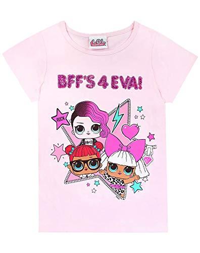 LOL Surprise! Dolls BFF's 4 Eva Girls T-Shirt Reversible Sequins Pink (6-7 Years)