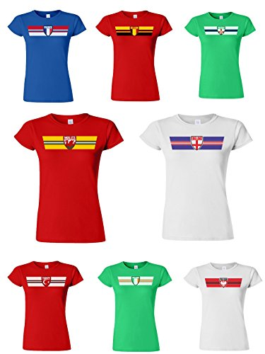 Ladies Damen T-Shirt RETRO STRIP EURO 2016 Football Patriotic **Land auswählen** (Romania) Red
