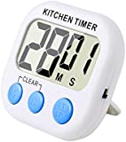 eBoot Magnetic Digital Kitchen Timer with Loud Alarm and Large LCD Display (White-Blue)