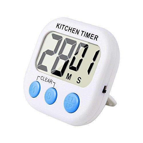 Digitaler Küchentimer mit Lauter Alarm und Große LCD-Anzeige (Weiß - Blau)