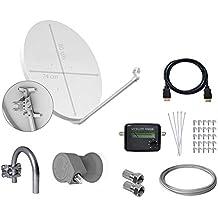 Tecatel E80C1LSCCK1-37 - Kit parabólica de 80 cm (soporte, LNB universal, cable, conectores, grapas, bridas y buscador), color blanco