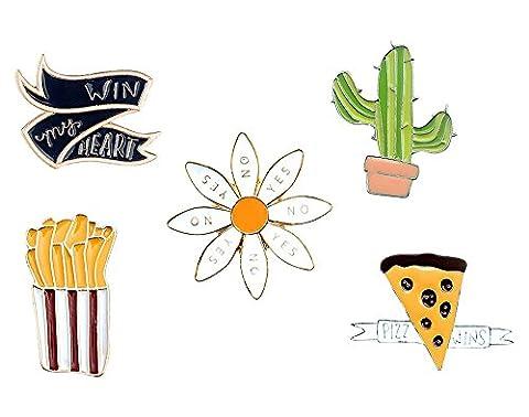 Brosche Anstecknadel Anstecker Pins Metall Brosche 5 Stück Set Kaktus Blume Pizza Pommes