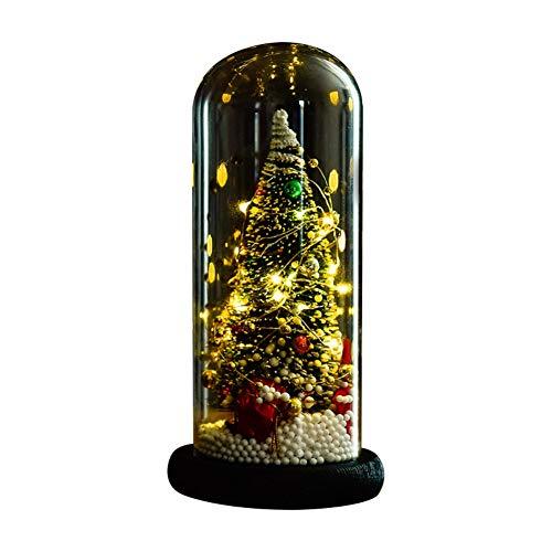 Efinny albero di natale in cupola di vetro con luci a corde led ornamenti interni festivi natalizi a batteria albero di natale in miniatura in serra con luci fatate