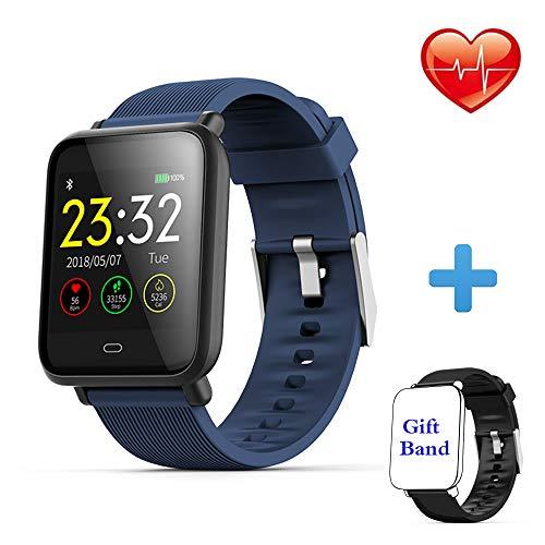 Montre Connectée Bracelet Connecté Cardio Podometre Homme Femme Smartwatch Etanche IP67 Fitness Tracker d'Activité Calorie Sommeil pour iPhone Samsung Huawei Android iOS Smartphone (Q9-BL)