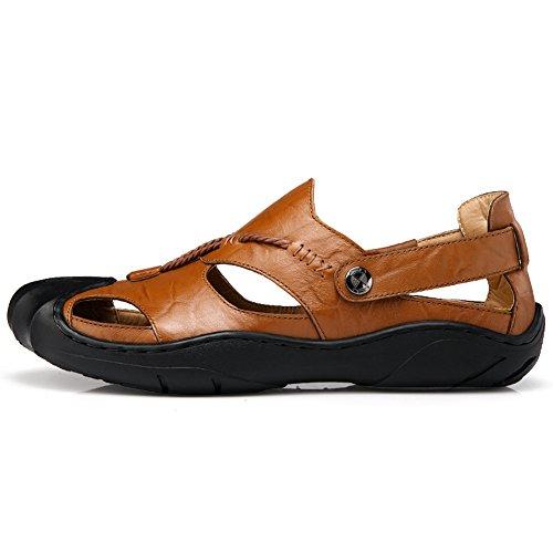 sandali uomo pelle Scarpe da spiaggia estive casual Calzature da spiaggia all'aperto a piedi Khaki