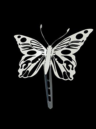 """Gartenstecker, Beetstecker Tier, Figur, Skulptur, Schmetterling """"Boloria"""" (Weiß), ein besonderes Geschenk auch zu Weihnachten und ein echtes Schnäppchen als Präsent für Ihre Frau, wunderschöne Geschenke aus Metall zum Geburtstag. Witterungsbeständig statt"""