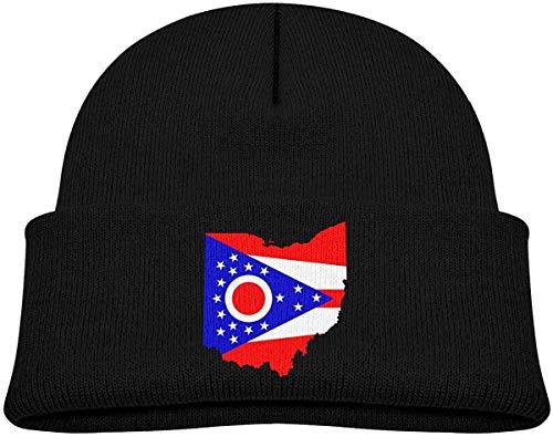 YudoHong Flag Map of Ohio Jungen und Mädchen Weiche Strickmütze geschieht Schädel Cap Hat M -