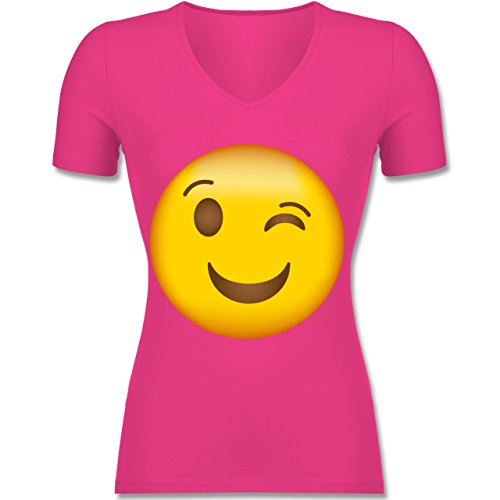 Comic Shirts - Zwinker Emoji - Tailliertes T-Shirt mit V-Ausschnitt für Frauen Fuchsia