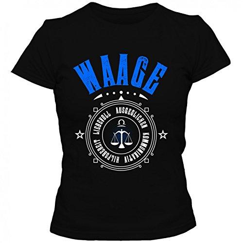 Sternzeichen Waage T-Shirt   Astrologie   Horoskop   Tierkreiszeichen   Herren   Shirt © Shirt Happenz Schwarz (Deep Black L190)