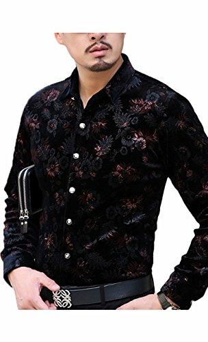 Awake Herren Goldener Samt Blumendruck Button-Down-Shirt (Westlichen Plaid Tan Shirt)