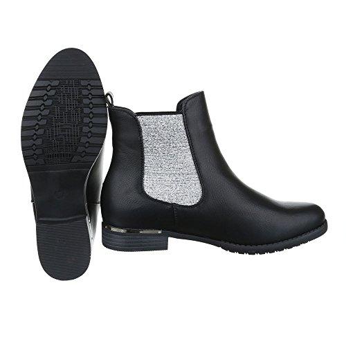 Chelsea Boots Damenschuhe Chelsea Boots Blockabsatz Chelsea Boots Ital-Design Stiefeletten Grau