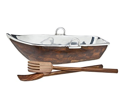 Godinger Wood Lined Boat Bowl with Salad Server, Silver by Godinger - Godinger Server