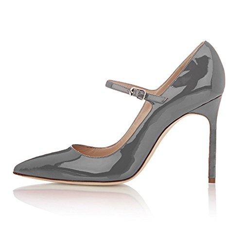 EDEFS - Escarpins Femme - Mary Janes Chaussure - Lanières femme - Talons hauts aiguilles - Bout pointure fermé Gris