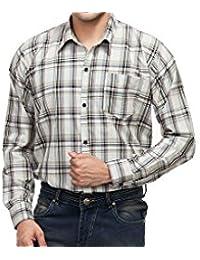 4Stripes Men's Causal Melange Check Shirt