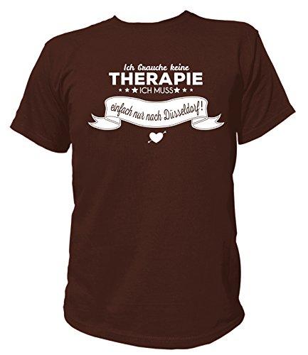 Artdiktat Herren T-Shirt Ich brauche keine Therapie - Ich muss einfach nur nach Düsseldorf Braun