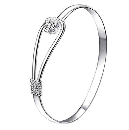 Hosaire Armband Mode Silber Farbe Blume Wristband Armbänder Frauen Exquisite Schmuck Zusätze Legierung Bracelet Geschenk Zubehör (Blumen-armband)