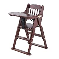 Aszhdfihas-home Wood Baby High Chair With Tray Adjustable Height Foldable Feeding Baby Highchair Adjustable Folding (Color : Brown, Size : 51 * 58 * 78cm)