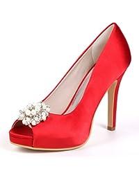 es 2018 Mujer Amazon Sandalias Rojo Tacón Zapatos Verano De xFZII