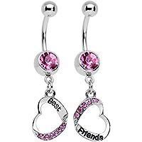 Corpo: in acciaio INOX, con rosa Accent Best Friends-Piercing per ombelico a forma di cuore abbinati a forma di anello