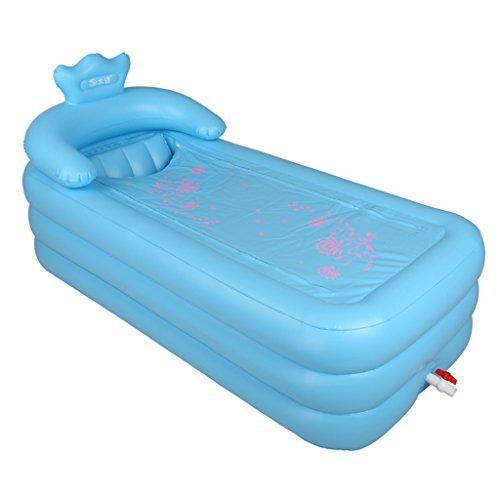 AJZGF Startseite Gefaltete aufblasbare verdickte Erwachsenen S-Back-Badewanne Badewanne ( Farbe : Blau )