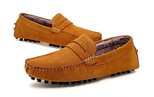 Hommes Chaussures Daim Mocassins Décontractés Doux Faux Fourrure Doublure Taille 38To 44 Yellow