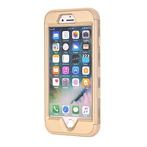 """iPhone 7 Hülle,Lantier Eleganter Luxus verzierte Bling Strass Design 3 Stück Art Dual Layer Hybrid Stoß harten Autoschutzhülle für iPhone 7 4.7"""" 2016 Schwarz+Pink Cute Rhinestone Gold+Yellow"""