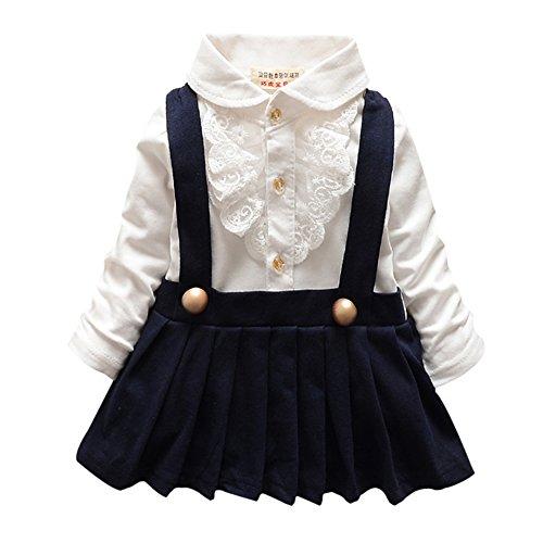 BOBORA Baby Girl Lapel plissettato vestito manica lunga gonna con reggicalze Cotone Floreale Vestiti Black XL