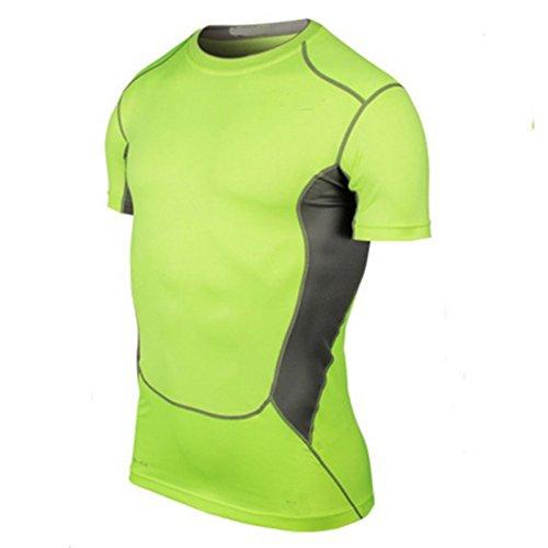 BOBORA compressione strato da uomo Tight abbigliamento sportivo Sportwear Gear Tops Maglietta Green M