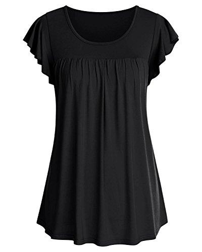 SOLERSUN Womens Sommerkleidung, Damen O Neck Ruffle Kurzarm T-Shirt Elegante Volltonfarbe Tops Flowy Hem Tees (Schwarz XL) - Ruffle Tee Top