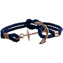 Geralin Gioielli Bracelet pour homme bleu marine avec ancre en cuivre et  nœud marin, fabriqué