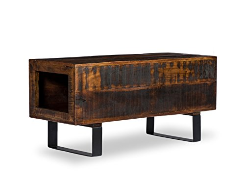 Woodkings Sitzbank Woodend, Akazie massiv, Flurmöbel vintage, Schuhschrank, Dielenschrank, Holzbank