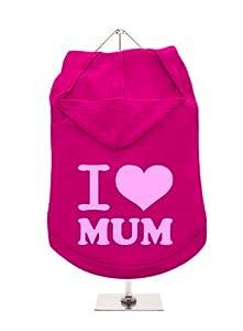 """UrbanPup Pull à capuche pour chien Inscription """"Mothers Day?: I Love Mum Réservoir/Sweat à capuche (Fuchsia/rose)"""