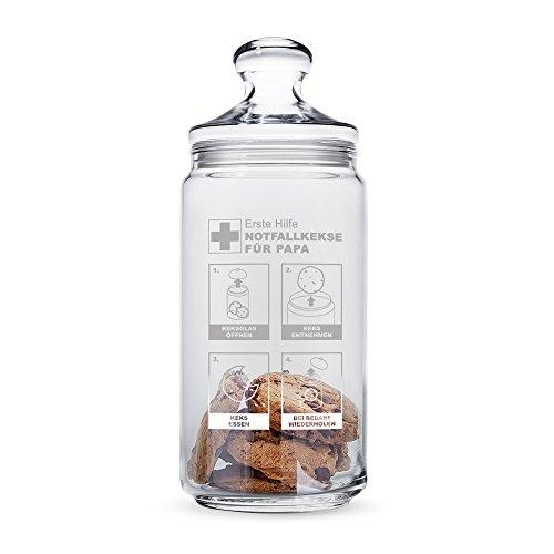 Casa Vivente - Keksglas mit Gravur und Deckel - Keksdose aus Glas - Papas Notfallkekse - Vorratsglas - Geschenkidee Männer Deckel-case
