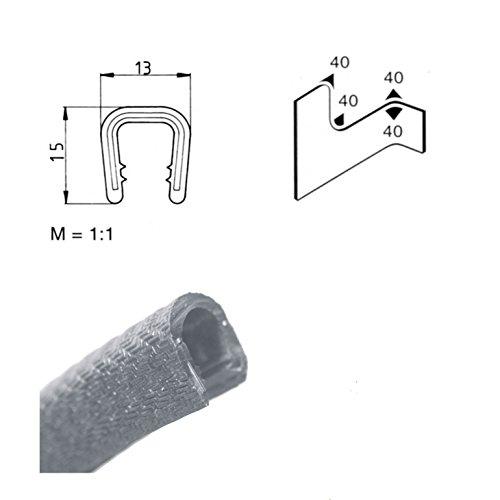 EUTRAS Kantenschutz 2185 KS1202 Klemmprofil Keder – Klemmbereich 6-8 mm 3 m, Hellgrau