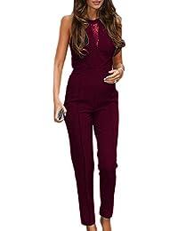 HX fashion Donna Tutine Eleganti Jumpsuit Estive Tuta Cerimonia Lunga Senza  Maniche Chic Ragazza Giuntura Pizzo bf79eb7a7e9