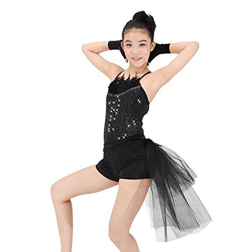 MiDee 2 Stück Hemdchen, Oder So Was Paillettenbesetzte Tanz Kostüm Jazz Samt Shorts (Schwarz, LA) (Jazz Tanz Kostüme Für Mädchen)
