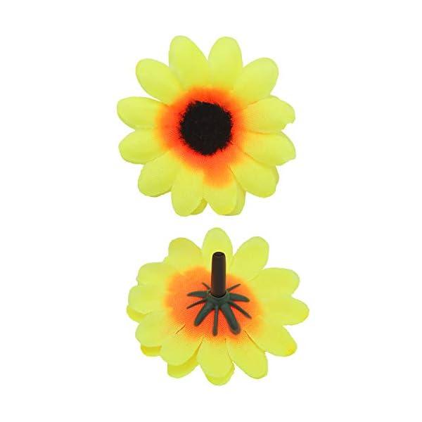 Willbond – 200 Cabezas de Girasol Artificiales de Seda, Color Amarillo