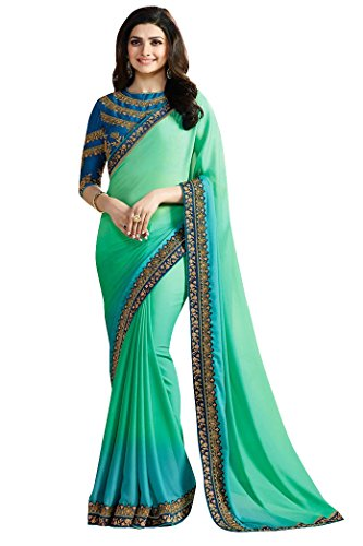 KANHA FASHION Georgette Saree (Kanha-04_Green_Free Size )